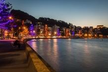 Oriental Bay, Wellington New Zealand Christmas Lights On Ocean